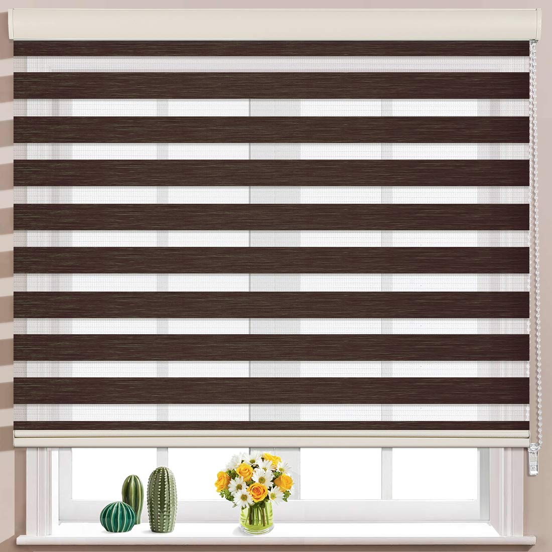 Keego Window Blinds Custom Cut to Size, Brownish Brown Zebra Blinds with Dual Layer Roller Shades, [Size W 46 x H 56] Dual Layer Sheer or Privacy Light Control for Day and Night