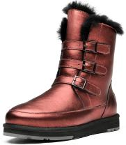 Aumu Women Patent Leather Short Sheepskin Winter Boots Leather Snow