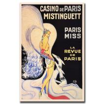 Casino de Paris Mistinguett by Louis Gaudin, 18x24-Inch Canvas Wall Art