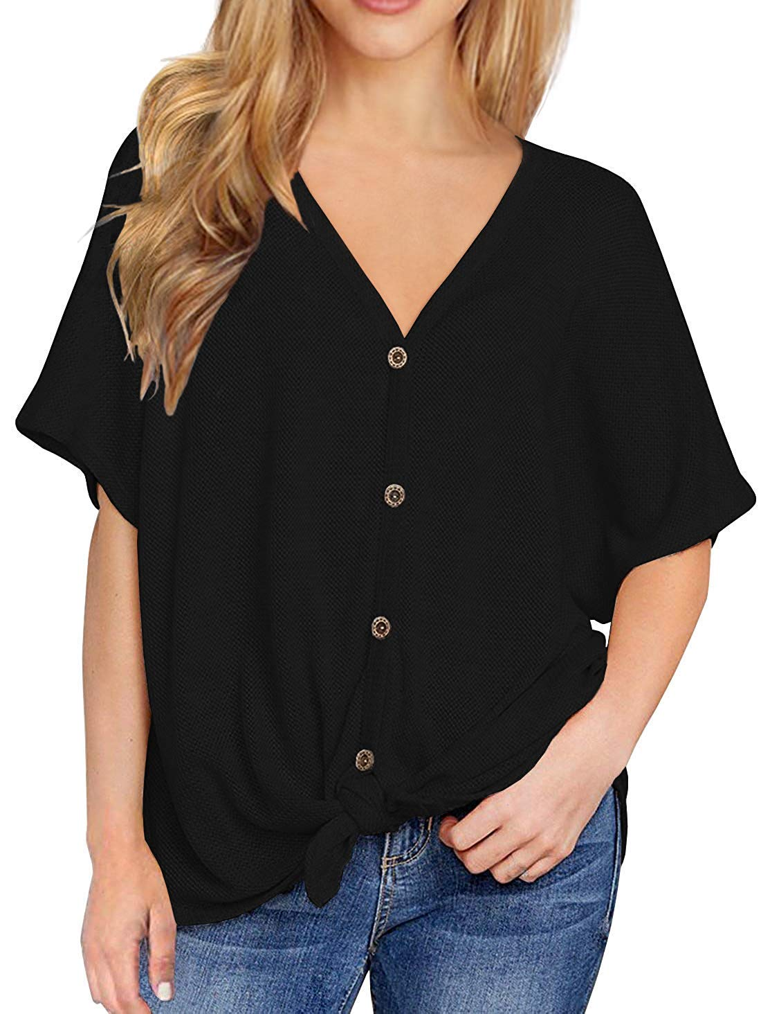 Chuhee Womens S-3XL Button Down Blouse Shirt Tie Knot Thermal Tops