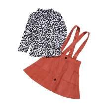 Newborn Toddler Baby Girls Clothes Long Sleeve Shirt Leopard T-Shirt Top + Button Strap Dress Skirt Set Fall Outfit