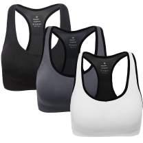 ANGOOL Women's Padded Sports Bra High Impact Seamless Racerback Workout Yoga Bra