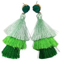 Bohemian 3 Tier Tassel Dangle Drop Earring-Druzy Stud Earrings for Women Girls