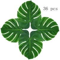 "Hecaty 36 pcs Palm Leaves Plant Imitation Leaf, 13"" DIY Waterproof Leaves for Hawaiian Luau Party Jungle Beach Theme Decorations BBQ Birthdays, Prom, Christmas Events"