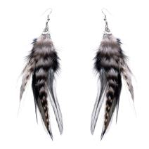Lureme Women Native American Pheasan Handmade Feathers Hook Dangle Earrings (02003507)