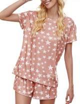 kayamiya Pajamas for Women Tie Dye Printed Long Sleeve Tops and Shorts PJ Sets 2 Piece Pajamas Set Sleepwear Nightwear