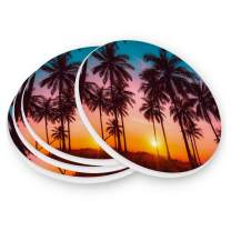 visesunny Retro Summer Beach Coconut Palm Tree Pattern Drink Coaster Absorbs Moisture and Prevents Table Damage Stone Coasters with Cork Base, 1 Piece