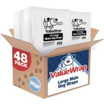 ValueWrap Disposable Male Dog Diapers, 2-Tab Large, 48 Count - Absorbent Male Wraps for Incontinence, Excitable Urination & Travel, Fur-Friendly Fasteners, Leak Protection, Wetness Indicator