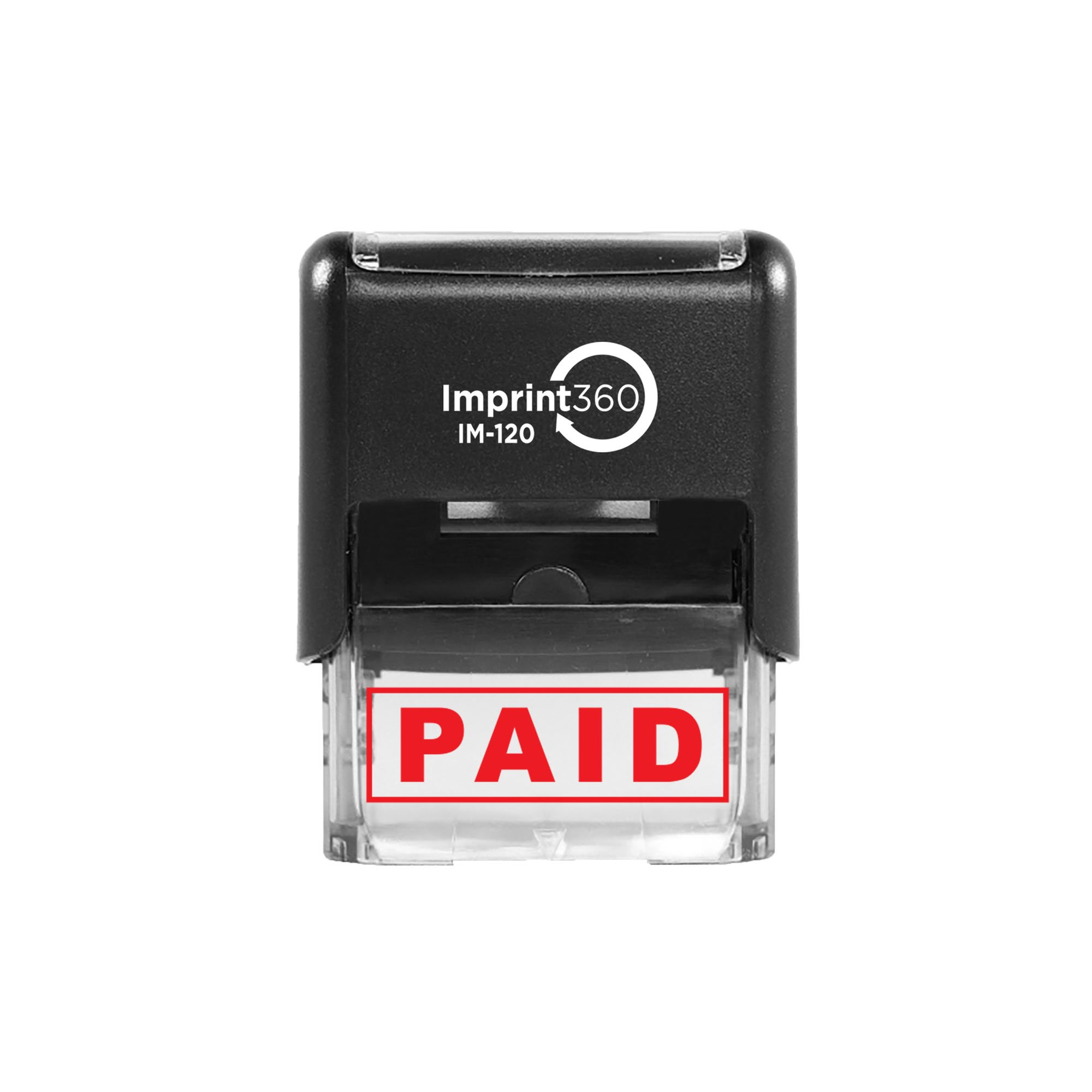 """Imprint 360 AS-IMP1027 - Paid, Heavy Duty Commerical Quality Self-Inking Rubber Stamp, Red Ink, 9/16"""" x 1-1/2"""" Impression Size, Laser Engraved for Clean, Precise Imprints"""