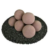 Ceramic Fire Balls   Set of 8   Modern Accessory for Indoor and Outdoor Fire Pits or Fireplaces – Brushed Concrete Look   Adobe Red, 5 Inch