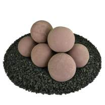 Ceramic Fire Balls | Set of 8 | Modern Accessory for Indoor and Outdoor Fire Pits or Fireplaces – Brushed Concrete Look | Adobe Red, 5 Inch