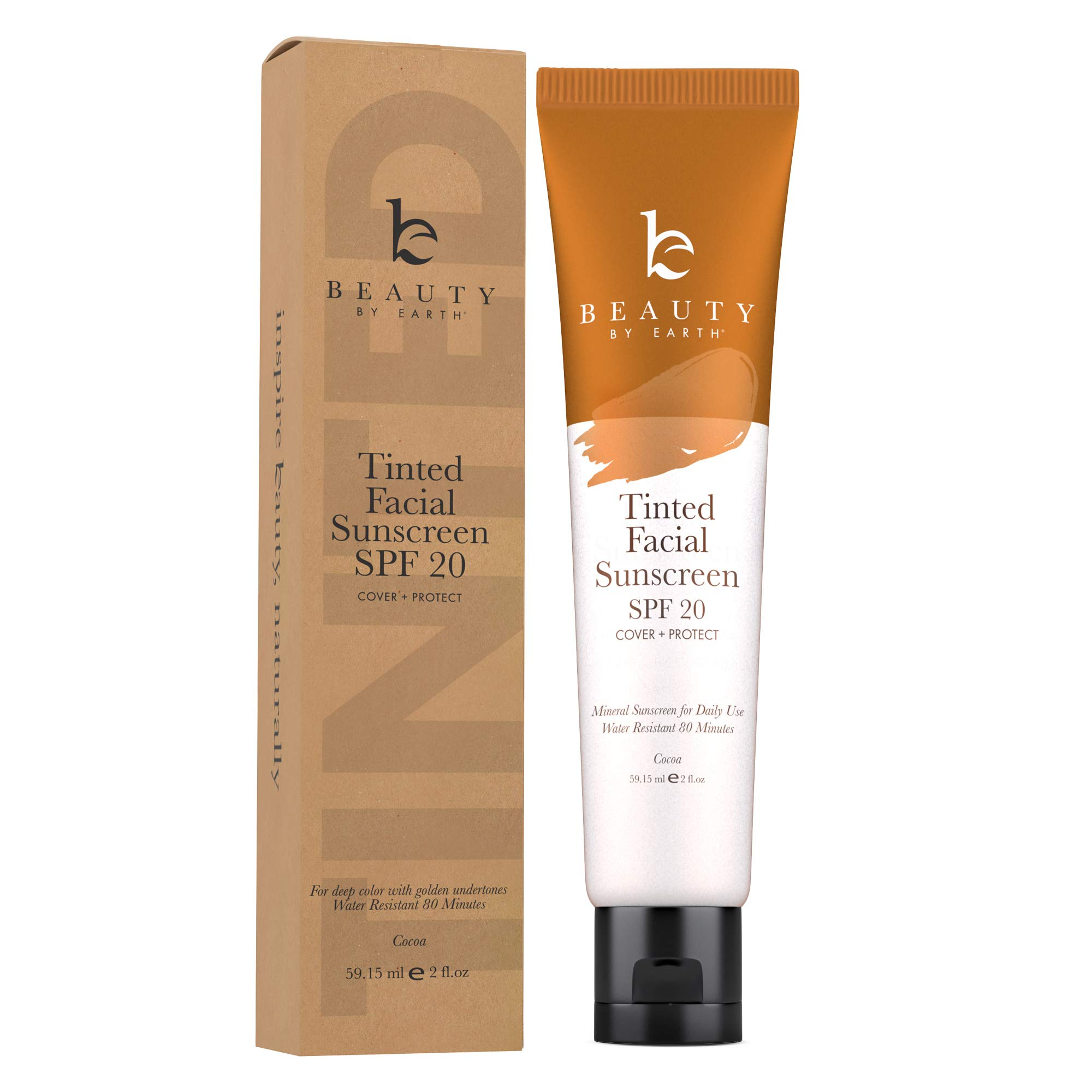 Tinted Sunscreen for Face - SPF 20 With Natural & Organic Ingredients Broad Spectrum Sunblock Lotion, Tinted Moisturizer Zinc Oxide Sunscreen Face for Skincare, Facial Sunscreen (Cocoa)