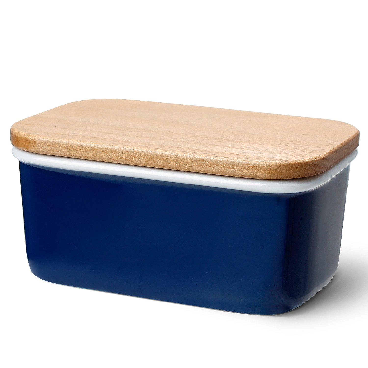 Sweese 301.103 Large Butter Dish - Porcelain Keeper with Beech Wooden Lid, Perfect for 2 Sticks of Butter, Navy