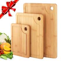 Organic Bamboo Cutting Board with Juice Groove (Set of 3), Kitchen Chopping Board for Meat (Butcher Block) Cheese and Vegetables, As Wood Large Serving Tray Holder, Carving board