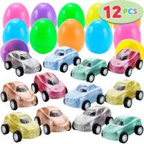 """12 Pcs Filled Easter Eggs with Toy Cars, 2.25"""" Bright Colorful Easter Eggs Prefilled with Mini Pull Back Vehicles"""