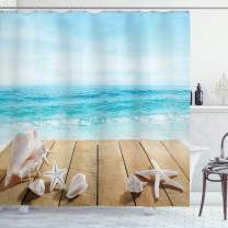 "Ambesonne Seashells Shower Curtain, Wooden Boardwald with Seashells Sunshine Vacations Beach Theme, Cloth Fabric Bathroom Decor Set with Hooks, 70"" Long, Blue Beige"