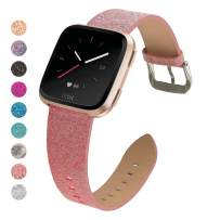MEFEO Bling Bands Compatible for Fitbit Versa/Versa 2/Fitbit Versa Lite/Versa SE, Sparkly Leather Band Glitter Strap Wristband Replacment for Fitbit Versa Band Women