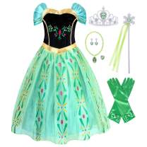 HenzWorld Princess Queen Coronation Costume Dresses Birthday Halloween Cosplay Party Outfit Green Little Girls 2-6 Years