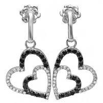 Dazzlingrock Collection 0.60 Carat (ctw) 10k Black & White Diamond Heart Dangling Earrings (Custom w/Snapbacks), White Gold