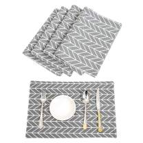 TEWENE Placemats, Washable Placemats for Dining Table Double Fabric Printing Cotton Place Mats for Kitchen Table Set of 4 Table Mat (Geometry Grey/4Pcs/12''x18'')