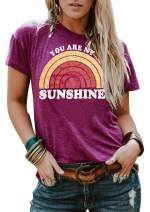 Anbech Womens Graphic T Shirts Rainbow Sunshine Printed Tee Casual Short Sleeve Summer Tops