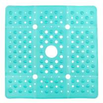 SlipX Solutions Extra Large Square Shower Mat, 27 x 27 Inches, Provides More Coverage & Non-Slip Traction (100 Suction Cups, Great Drainage, Aqua)
