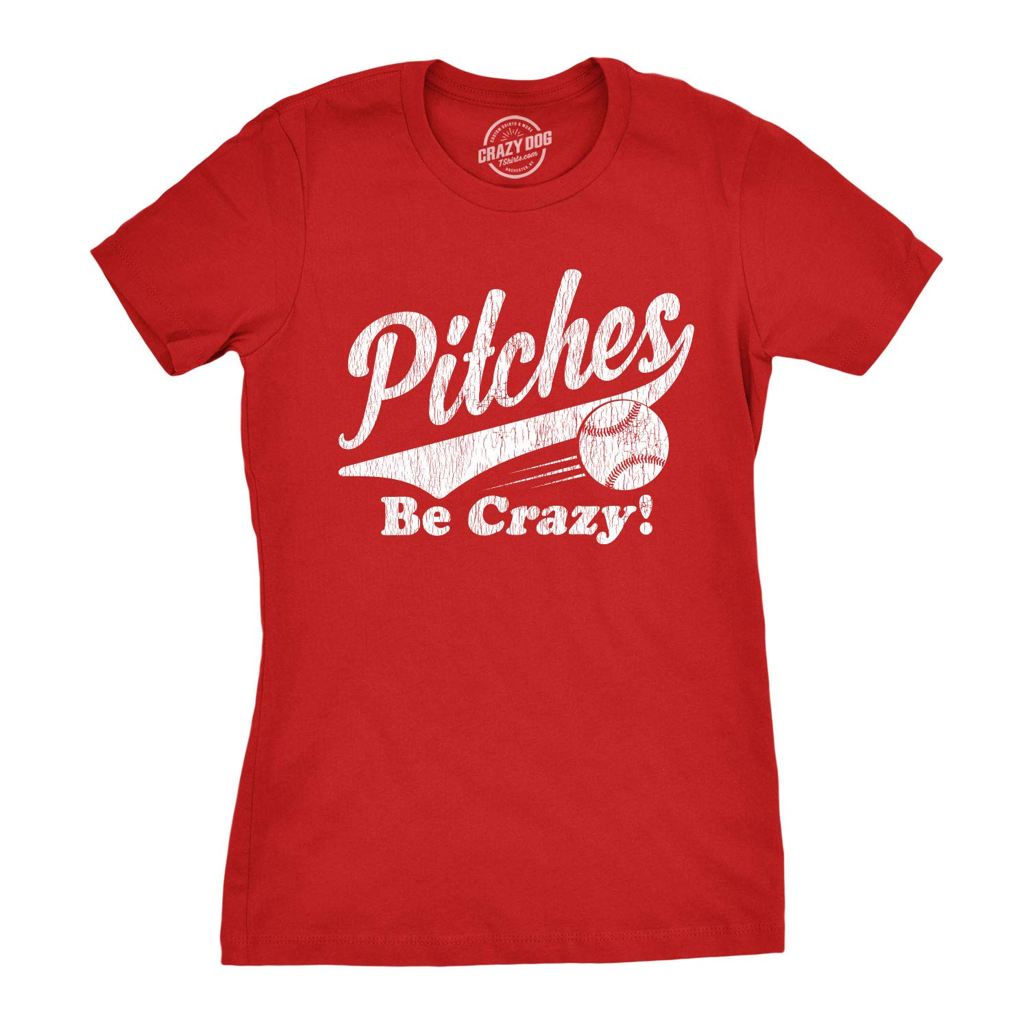 Womens Pitches Be Crazy Tshirt Funny Summer Baseball Tee