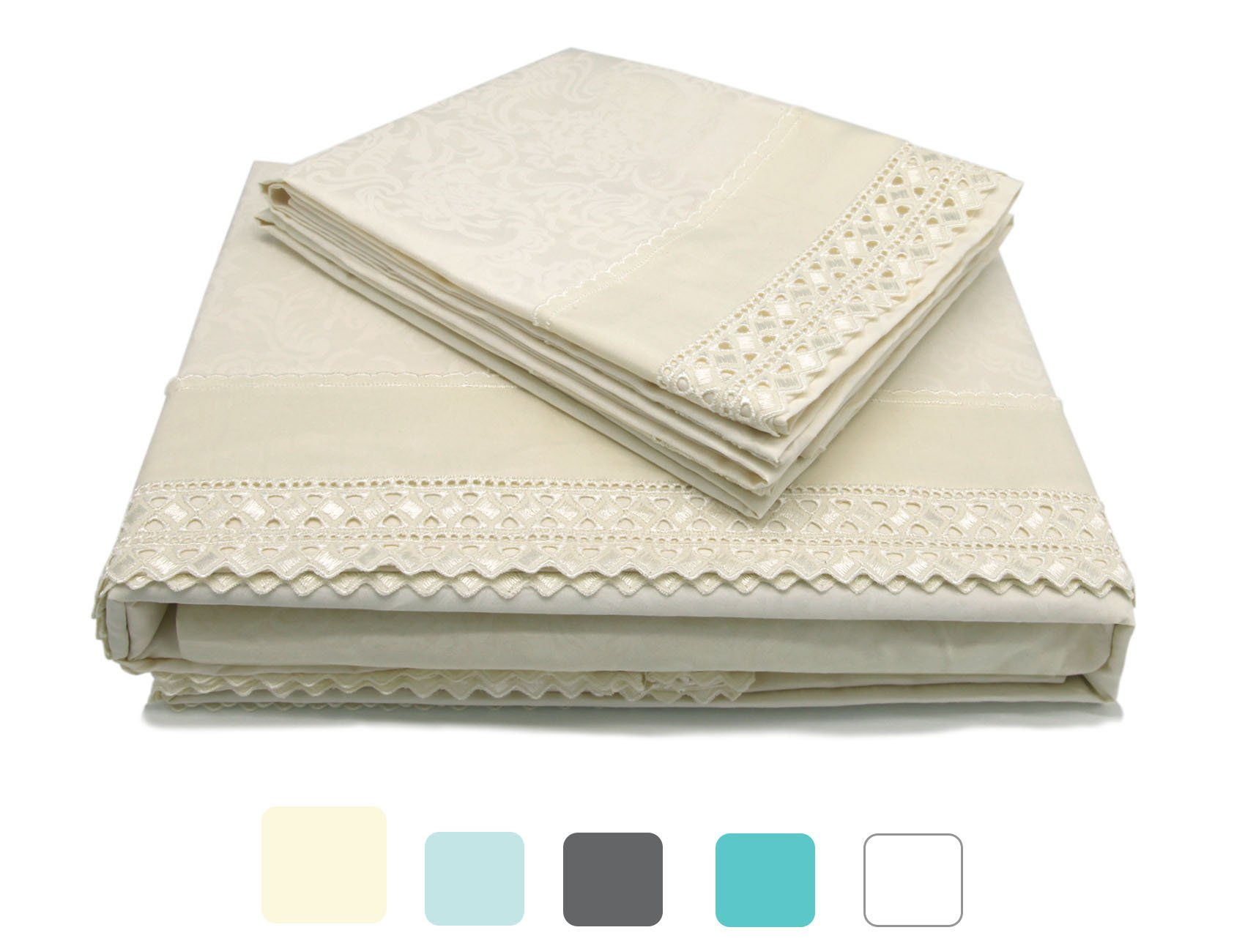 MARQUESS Microfiber Sheet Set-100% Brushed Lace Breathable Lightweight 4-Piece Sheets, Wrinkle Resistant, Soft& Cool Embroidery Bedding Summer Damask Style Printing Design(Cream, King)
