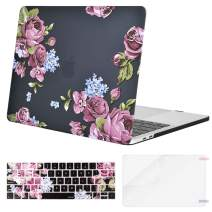 MOSISO MacBook Pro 13 inch Case 2019 2018 2017 2016 Release A2159 A1989 A1706 A1708, Plastic Pattern Hard Shell Case&Keyboard Cover&Screen Protector Compatible with MacBook Pro 13, Purple Peony