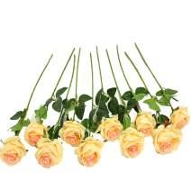 JUSTOYOU 10pcs Artificial Rose Silk Flower Blossom Bride Bouquet for Home Wedding Decor(Champagne)