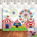 Cartoon Red Circus Photo Background for Children Carnival Themed Birthday Party Banner Supplies Vinyl 6x4ft Baby Shower Decorations Photo Shoot Photography Backdrop Room Decor
