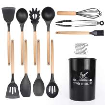 ZONGOOL Silicone Cooking Utensil Set, 12 Pcs Non-stick Heat Resistant Silicone Kitchen Utensil Set, BPA Free, Non Toxic Cooking Tools with Wooden Handles. (Black)