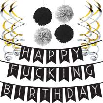 Sterling James Co. Funny Birthday Party Pack - Black & Silver Happy Birthday Bunting, Poms, and Swirls Pack- Birthday Decorations - 21st - 30th - 40th - 50th Birthday Party Supplies