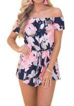 Relipop Fashion Women's Summer Floral Off Shoulder Romper Jumpsuit