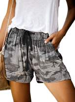 Elapsy Womens Casual Drawstring Elastic Waist Summer Shorts with Pockets S-2XL