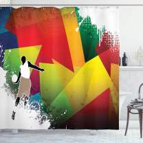 """Ambesonne Basketball Shower Curtain, Basketball Jump Background with Geometrical Shapes Paint Splashes Modern Art, Cloth Fabric Bathroom Decor Set with Hooks, 70"""" Long, Red Yellow"""