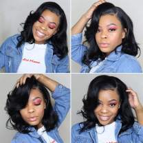 360 Lace Frontal Wig Body Wave Human Hair Wigs Pre Plucked with Baby Hair Brazilian Virgin Remy Human Hair 360 Lace Wigs for Black Woman 180% Density Nature Color 12 inch
