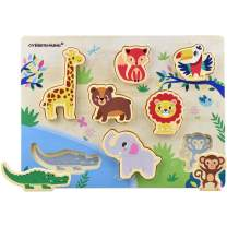 GYBBER&MUMU Wooden Puzzles Animals Colorful Cartoon Patter Educational Toys