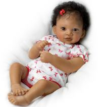 The Ashton - Drake Galleries Sweet Butterfly Kisses Coos at Your Touch with Hand-Rooted Hair - So Truly Real African-American Lifelike, Interactive & Realistic Newborn Baby Doll 19-inches
