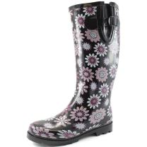 Women's Puddles Rain and Snow Boot Multi Color Mid Calf Knee High Waterproof Rainboots