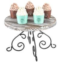 MyGift Torched Wood & Black Metal Scrollwork 12-Inch Cake & Dessert Stand