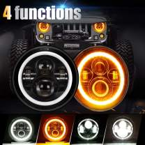 SUPAREE 7 inches LED Jeep Headlights with White Halo Ring Angel Eyes & Amber Turn Signal Halo For Jeep Wrangler JK TJ CJ