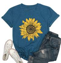 Sunflower T-Shirt Women Flower Graphic Tee Teen Girls Inspirational Tees Short Sleeve Casual Tshirt Faith Shirt Tops