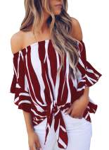 Bdcoco Women's Floral Printed Off The Shoulder Blouse Tops Striped Tie Knot 3 4 Flare Sleeve Shirts