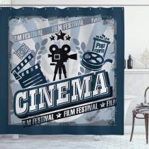 """Ambesonne Movie Theater Shower Curtain, Vintage Cinema Poster Design with Grunge Effect and Old Fashioned, Cloth Fabric Bathroom Decor Set with Hooks, 75"""" Long, Black Grey"""