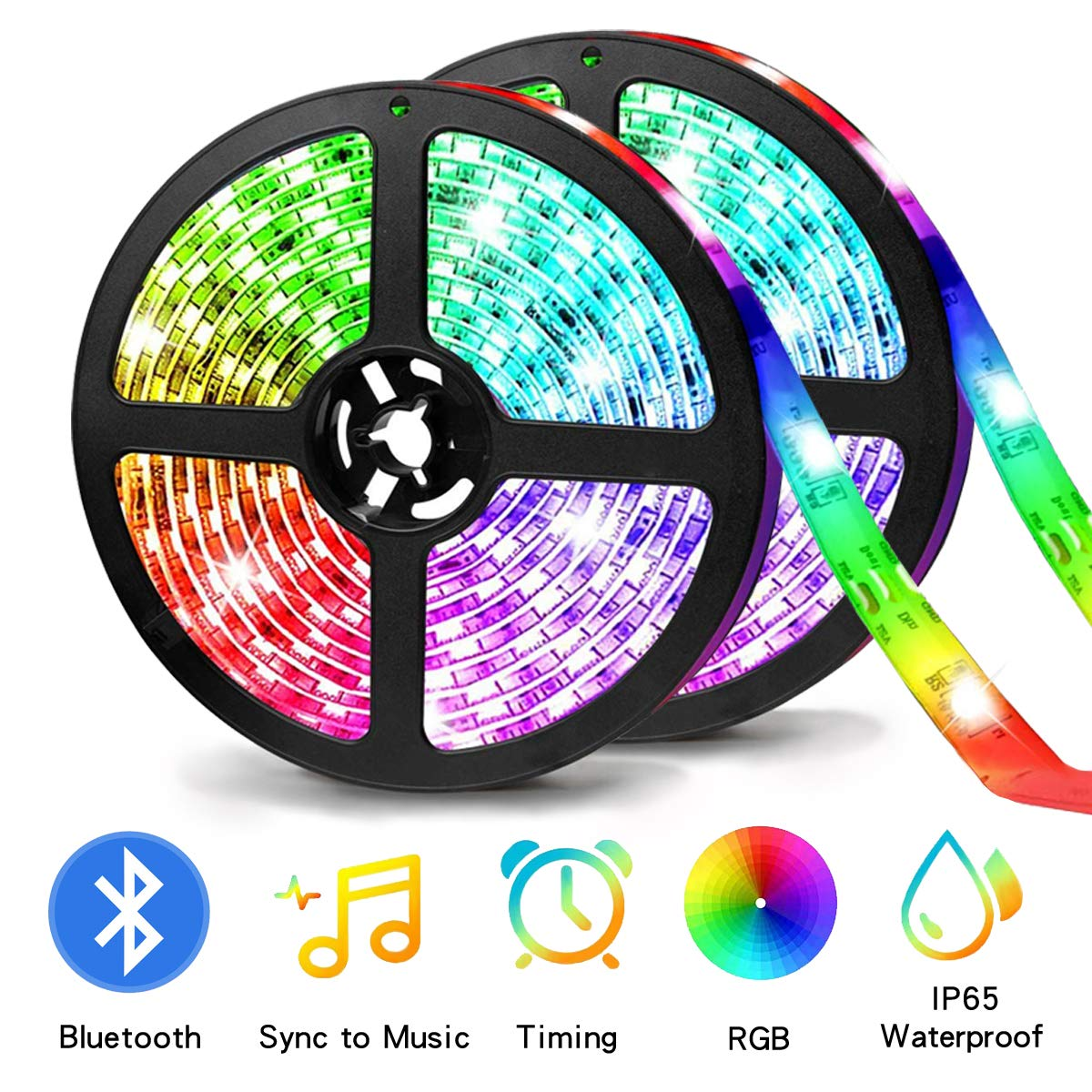 Bluetooth Strip Lights 33Feet(10M),ZHT LED Color Strip Lighting with App Smart Phone Control,RGB Color Changing Rope Light Kit, Flexible LED Strip Lights Music for Party Home (ZHT-5050RGB10m300)