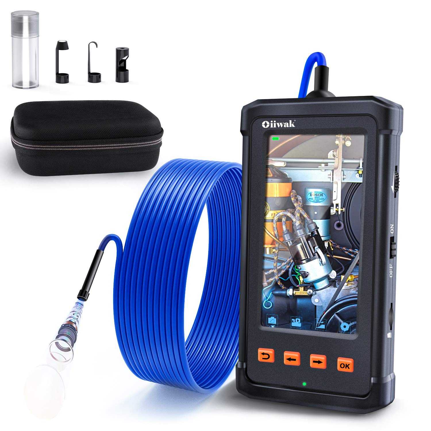 Oiiwak Industrial Endoscope Camera 1080P HD 5.5mm Borescope Inspection Snake Camera for HVAC Home Drain Maintenance with 4.3'' IPS Screen 2800mAh Battery and 6 LED IP67 Waterproof Lights(4.92FT)