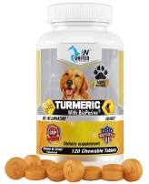 United Nutritionals Turmeric with BioPerine for Dogs, Anti Inflammatory, Antioxidant, Pet Mobility, Pain Relief, Prevents Joint Pain - 60/120 Chew-able Tablets.