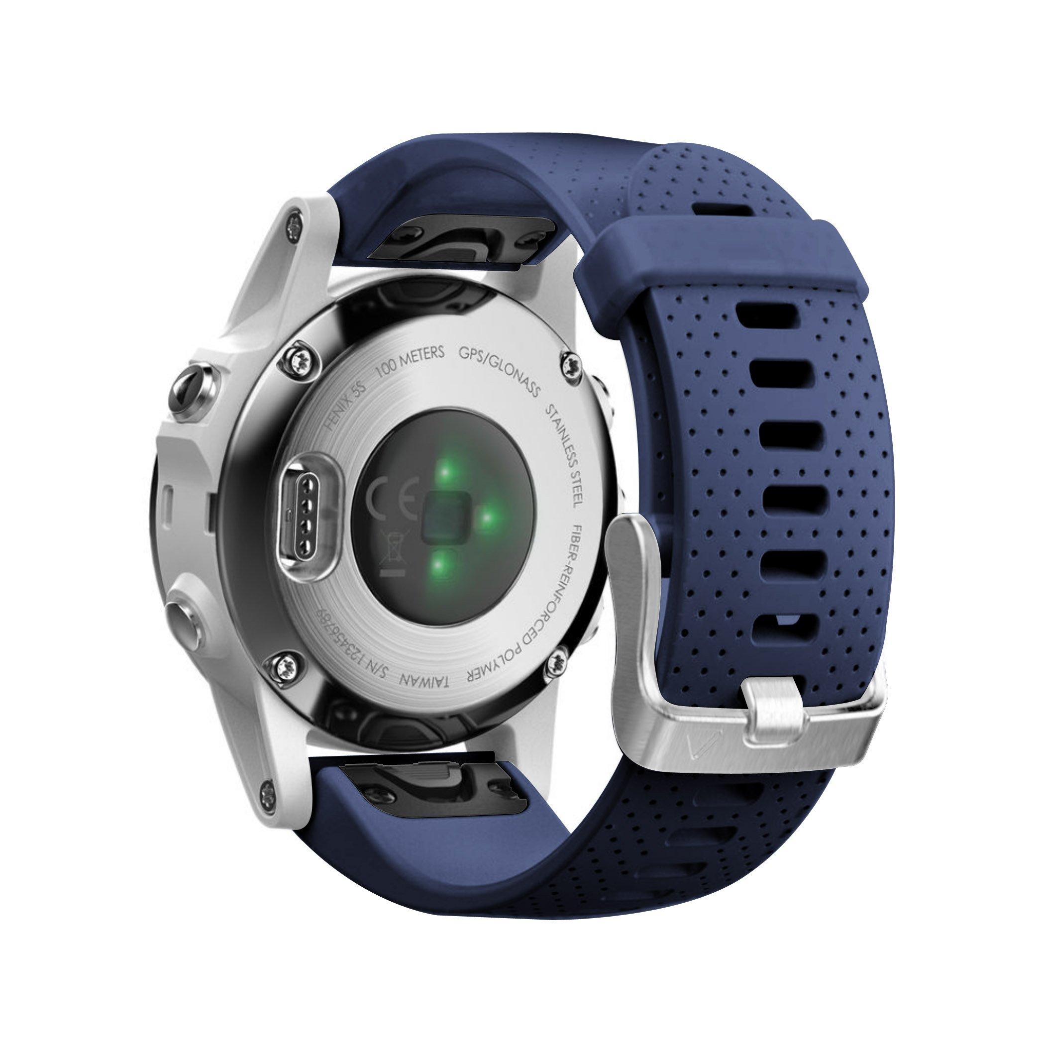 NotoCity Compatible Fenix 5S Watch Band Easy Fit Soft Silicone 20mm Replacement Watch Strap for Fenix 5S / 5S Plus/Fenix 6S/Fenix 6S Pro/D2 Delta S Smartwatch(Silver Buckle-Dark Blue)