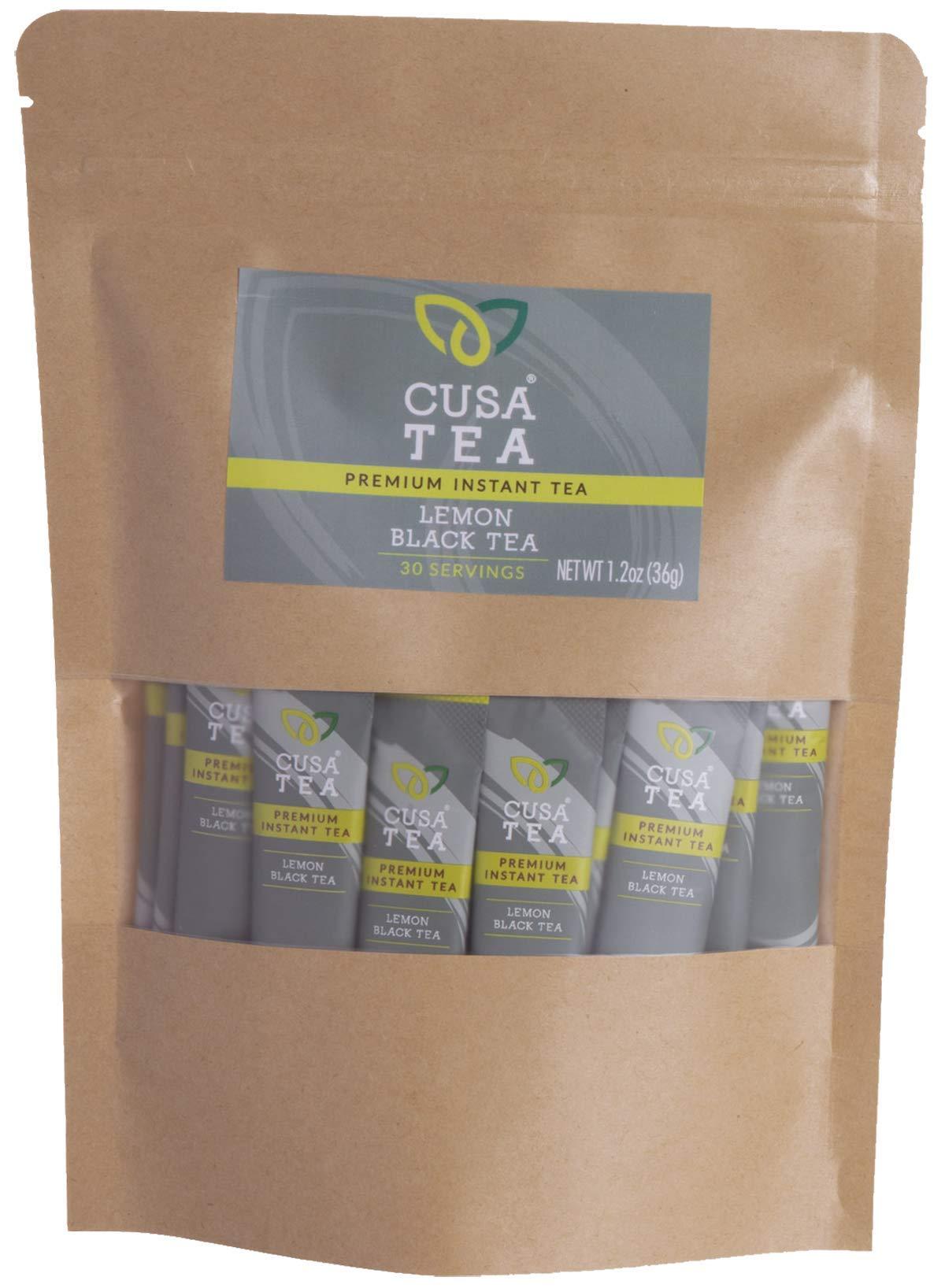 Cusa Tea: Premium Instant Tea - Single-Serve Packets - 100% Organic - Real Fruit and Spices - No Artificial Flavors - Make Hot & Cold Tea in Seconds - Lemon Black Tea 30 Servings